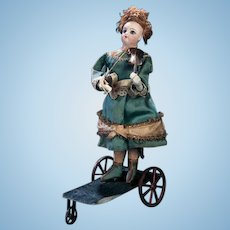 "10"" Earlier rarest petite french A/O MECHANICAL automaton doll ""girl playing violin"" by THEROUDE paris maker."