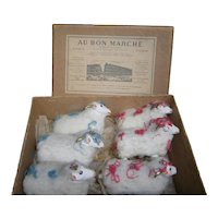 Stunning antique AU BON MARCHE antique doll`s accessorie colection of 6 LAMBS in papier mache