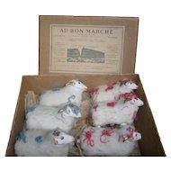 Stunning antique AU BON MARCHE antique doll`s accessorie colection of 6 LAMBS in papier mache
