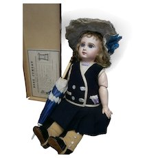 "19"" (48cm)perfect Frech antique Bebe Jumeau 8 /blue eyed/earlier jumeau trademarked box/ with rare french buttoned socks"