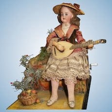 """French automaton """" lady playing the mandoline """" in the country scenery"""