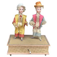 "Antique German musical mechanical automaton toy ""The dancing Minstrels"""