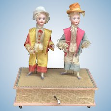 """Antique German musical mechanical automaton toy """"The dancing Minstrels"""""""