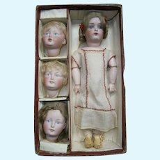 Greatest antique  multi-head  character doll  box from Kestner circa  1900