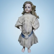 """33""""French bebe BRU 13 closed mouth, kid-leather body/blue-eyed/au bon Marche clothes antiques/head restaured"""
