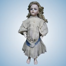 "33""French bebe BRU 13 closed mouth, kid-leather body/blue-eyed/au bon Marche clothes antiques/head restaured"