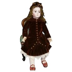 "Grand French Bisque ""Bebe Triste"" size 16 by Emile Jumeau with Signed Jumeau Shoes"