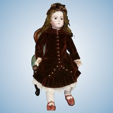 """Grand French Bisque """"Bebe Triste"""" size 16 by Emile Jumeau with Signed Jumeau Shoes"""
