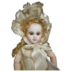 "30""(72cm) earlier antique E13J french bebe Jumeau  with outstanding fully embroided dress, comanding presence"
