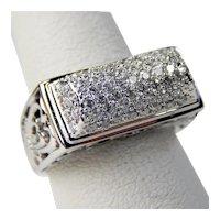 14 kt White Gold Pavè Diamond Filigree Openwork Ring Size 6 #4139