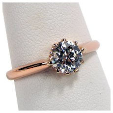14 kt Rose Gold VICTORIAN 6.3 mm Diamond Solitaire Engagement Ring Size 7 #4858