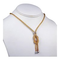 """14 k Yellow and White Gold CZ Lariat Style Love Knot Mesh Tube Necklace 16 1/4"""" #7270"""