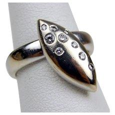 18 kt White Gold Navette Shape Diamond Ètoile Ring Size 5 1/2 #7848