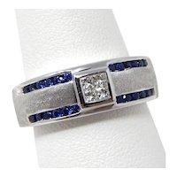 14 kt White Gold Diamond & Blue Sapphire Gypsy Half Band Ring Size 9 1/2 #8867