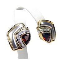 18 kt Gold DENOIR Pair of Trilliant Garnet & Diamond Omega Back Pierced Earrings A1052
