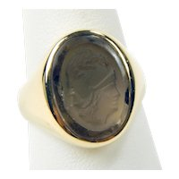14 kt Yellow Smoky Quartz Intaglio Cameo Helmeted Warrior Ring Size 10 1/2 A1221