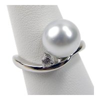 900 Platinum 10.5 mm Cultured Pearl & Diamond Ring Size 5.75 #A1265