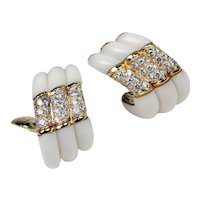 Vintage Pair of Tallarico Diamond & White Gem Clip On Earrings 18 kt Yellow Gold A1675
