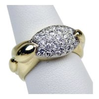 14 kt Yellow Gold Pavè Diamond Half Band Ring Size 7 1/4 A1693