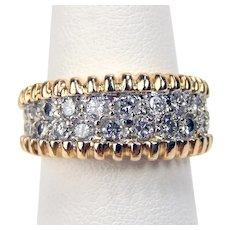 Vintage 14 kt Yellow & White Gold Pavè Set Diamond Double Row Half Band Ring Sz 6.25 A3296