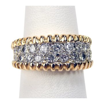 Vintage 14 kt Yellow & White Gold Pavè Set Diamond Double Row Half Band Ring Sz 6.25 A3296