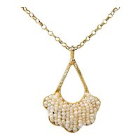 """18 kt Yellow Gold LATE VICTORIAN Seed Pearl Pendant / Necklace 17 3/8"""" A3603"""