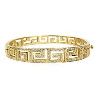 "18 kt Yellow Gold Grecian Motif Hinged Diamond Bangle Bracelet 6 3/4"" A3998"