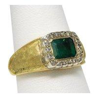 18 kt Multi-Tone Gold Natural EMERALD Halo Diamond Ring Sz 10.5 A5071