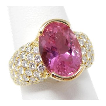 18 kt Yellow Gold Hinged Shank Ring Pink Tourmaline & Pavè Diamonds Size 7 1/2 A7446