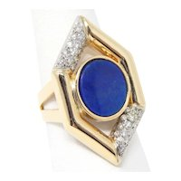 Vintage Lapis Lazuli Plaque & Diamond Ring 14 kt Yellow & White Gold Size 7 1/2 A5503