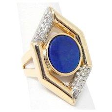 Vintage Lapis Lazuli Plaque & Diamond Ring 14 kt Yellow & White Gold Size 7 1/2 A5503