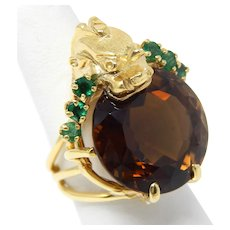 18 kt Yellow Gold BIG Citrine & Natural Emerald Chimera Ring Size 7 1/4 A7344