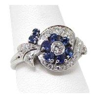 1930's - 1950's Natural Sapphire & Diamond Floral Cluster Ring Platinum Sz 11+ A7368