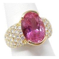 Hinged Shank Ring 18 kt Gold Pink Tourmaline & Pavè Diamonds Size 7 1/2 A7446