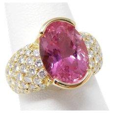 Hinged Shank Ring 18 kt Gold Pink Tourmaline & Pavè Diamonds Size 7 1/2 A7446