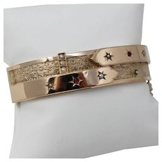 """Antique Late Victorian 12 kt Rose Gold Seed Pearl Hinged Bangle Bracelet 7"""" A7487"""