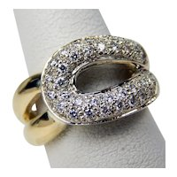 Contemporary Pavè Diamond Buckle Ring 14 kt Yellow & White Gold Size 6 1/4 A7659