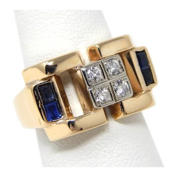 12.5 gr 14 kt Yellow Gold Chunky Diamond & Sapphire Ring Size 6 1/4 A7793