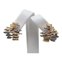 1970's 14 kt Multi-tone Gold Pair of Diamond Textured Clip On Earrings A7960
