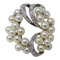 14 kt White Gold Cultured PEARL & DIAMOND Cluster Brooch Pin B0008