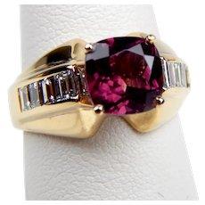 14 kt Yellow Gold Rhodolite GARNET & Baguette DIAMOND Ring Size 6 1/4 B0024