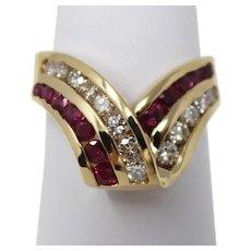 14 kt Yellow Gold Ribbon Twist Natural Ruby & Diamond Cluster Ring Sz 6.5 B0115