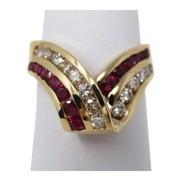 14 kt Yellow Gold Ribbon Twist Natural Ruby & Diamond Cluster Ring Sz 6.5 B0115