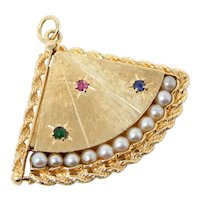 """Vintage 1950's """"Fan Motif"""" LOCKET Pendant / Charm with Ruby, Sapphire, Emerald, & Cultured Pearl 14 kt Gold B0167"""
