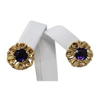 18kt YELLOW GOLD Pair of Openwork Dome AMETHYST French Screw Back Earrings B0171