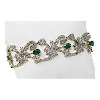 "14 kt Multi-tone Gold Emerald & Diamonds Openwork Flexible Bracelet 7 3/8"" B0813"