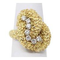 McTeigue 18k Gold & Platinum Textured Free Form Motif Diamond Ring Sz 6.25 B0918