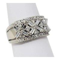 WIDE 14 kt White Gold Stylized Diamond Half Band Ring Size 9 B0899