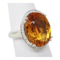 14 kt White Gold CITRINE Halo Diamond Cocktail Ring Size 5.5 B0927