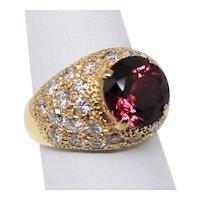18 kt Yellow Gold Red Tourmaline & Pavé Diamond Bombé Style Ring Sz 6.5 B0999
